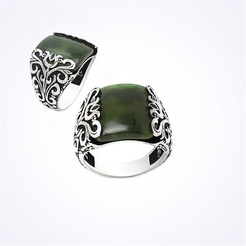 Mina Silver İşlemeli Yeşil Akik Taşlı Gümüş Erkek Yüzük