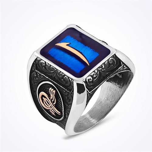 Mina Silver Arapça Elif Tuğralı Mavi Mineli Taşsız Gümüş Erkek Yüzük