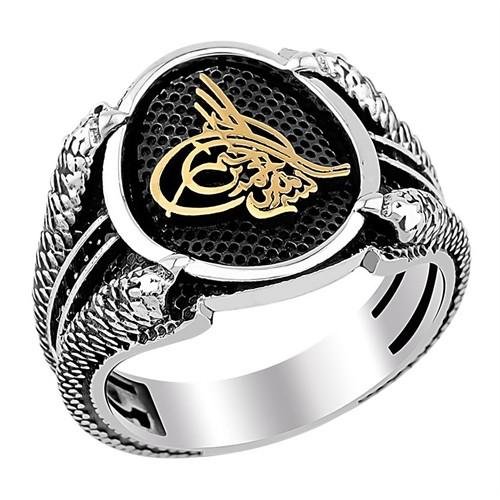 Tesbihevim Osmanlı Tuğralı Pençeli Gümüş Yüzük