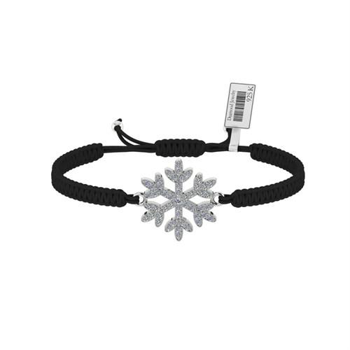 Diamood Jewelry Beyaz Altın Kaplama Gümüş Makrome Örgü Kar Tanesibileklik