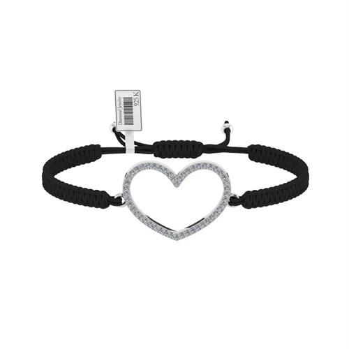 Diamood Jewelry Beyaz Altın Kaplama Gümüş Makrome Örgü Kalp Bileklik