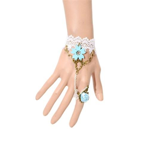 İroni Şahmeran Gotik Mavi Çiçekli Yüzüklü Bileklik Beyaz