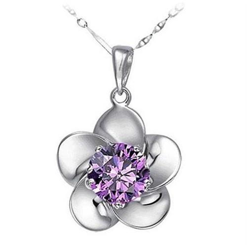 Modalina Mor Taşlı Mini Çiçek Kolye