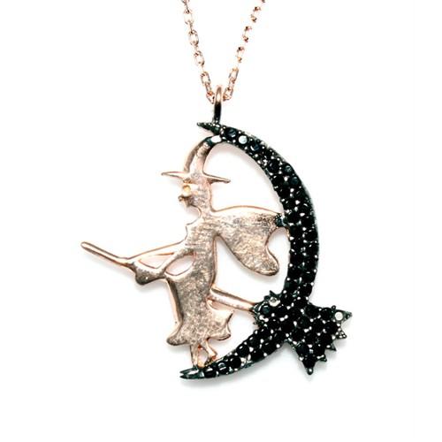 Nusret Takı 925 Ayar Gümüş Süpürgeli Cadı Kolye Pembe - Siyah Taş Pembe Cadı