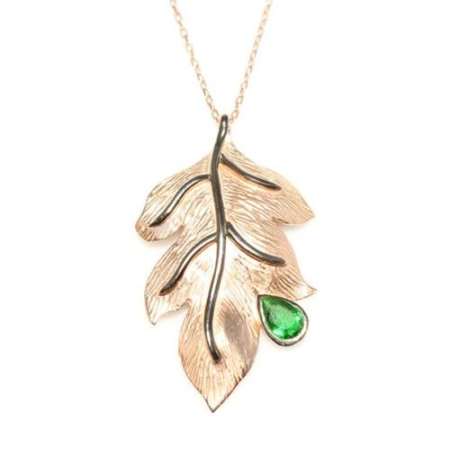 Nusret Takı 925 Ayar Gümüş Yaprak Kolye Pembe Yeşil Damla Taş