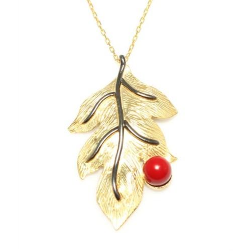Nusret Takı 925 Ayar Gümüş Yaprak Kolye Sarı - Kırmızı Yuvarlak Mercan