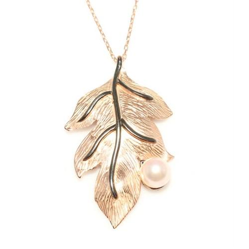 Nusret Takı 925 Ayar Gümüş Yaprak Kolye Pembe - Pembe Yuvarlak İnci