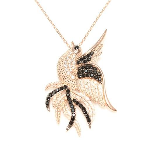 Nusret Takı 925 Ayar Gümüş Zümrüdü Anka Kuşu Kolye Pembe - Siyah Taş