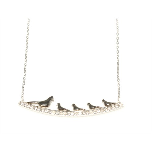 Nusret Takı 925 Ayar Gümüş 5 Güvercinli Kolye Beyaz Siyah - Beyaz Taş