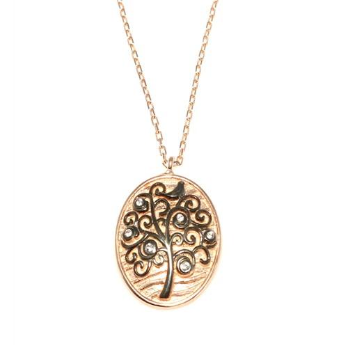 Nusret Takı 925 Ayar Gümüş Desenli Hayat Ağacı Kolye Pembe - Beyaz Taş