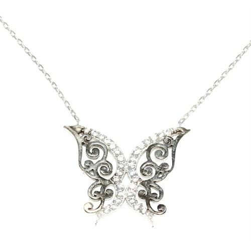 Nusret Takı Kelebek 925 Ayar Gümüş Kolye Beyaz Siyah - Beyaz Taş