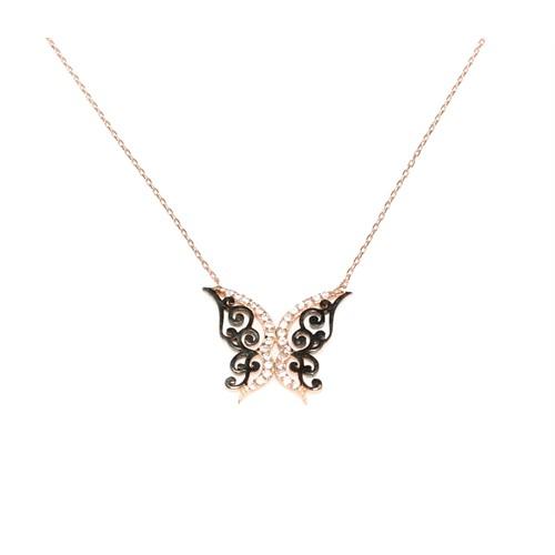 Nusret Takı Kelebek 925 Ayar Gümüş Kolye Pembe Siyah - Beyaz Taş