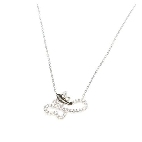 Nusret Takı 925 Ayar Gümüş Kalpli Kelebek Modeli Kolye Beyaz - Beyaz Taş