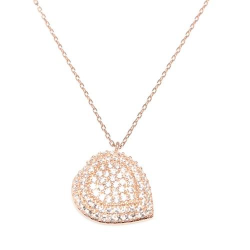 Nusret Takı 925 Ayar Gümüş Nazar Kalp Kolye Pembe - Beyaz Taş