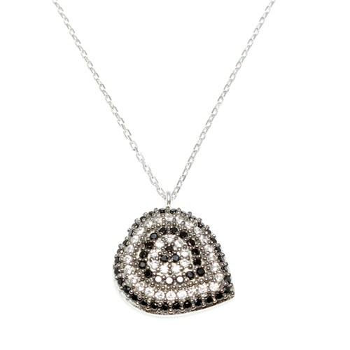 Nusret Takı 925 Ayar Gümüş Nazar Kalp Kolye Beyaz - Siyah Taş