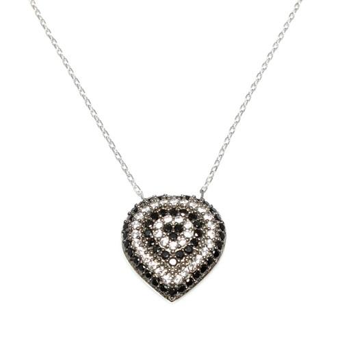 Nusret Takı 925 Ayar Gümüş Nazar Kalp Kolye Beyaz - Siyah Beyaz Taş