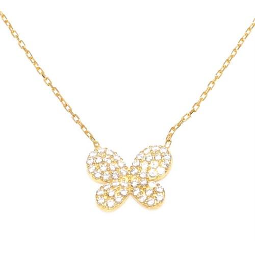 Nusret Takı 925 Ayar Gümüş Kelebek Kolye Sarı - Beyaz Taş