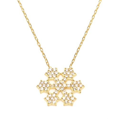 Nusret Takı 925 Ayar Gümüş Yıldız Kar Tanesi Kolye Sarı - Beyaz Taş