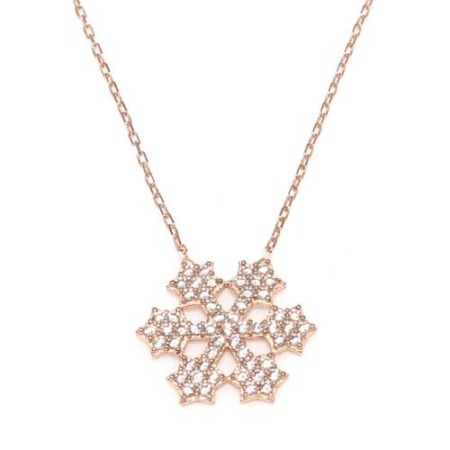 Nusret Takı 925 Ayar Gümüş Yıldız Kar Tanesi Kolye Pembe - Beyaz Taş