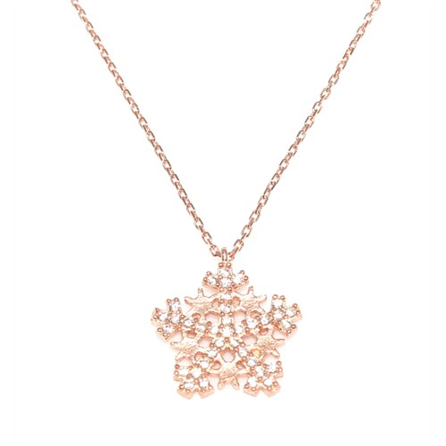Nusret Takı 925 Ayar Gümüş Yıldızlı Kar Tanesi Kolye Pembe - Beyaz Taş