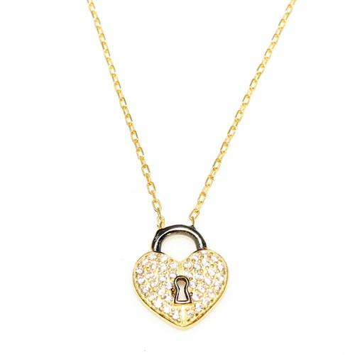 Nusret Takı 925 Ayar Gümüş Askılı Kalp Anahtar Deliği Sarı Siyah - Beyaz Taş