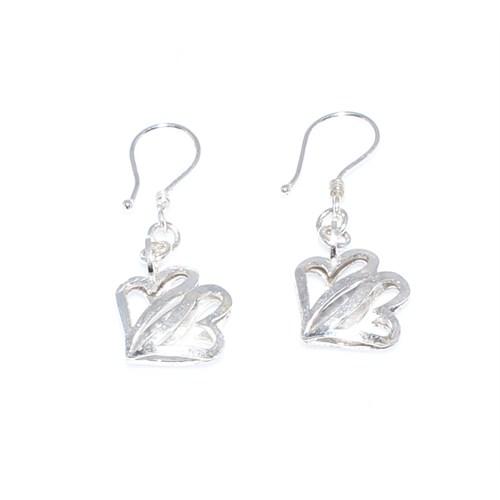 Nusret Takı 925 Ayar Gümüş Çift Kalp Modeli Küpe