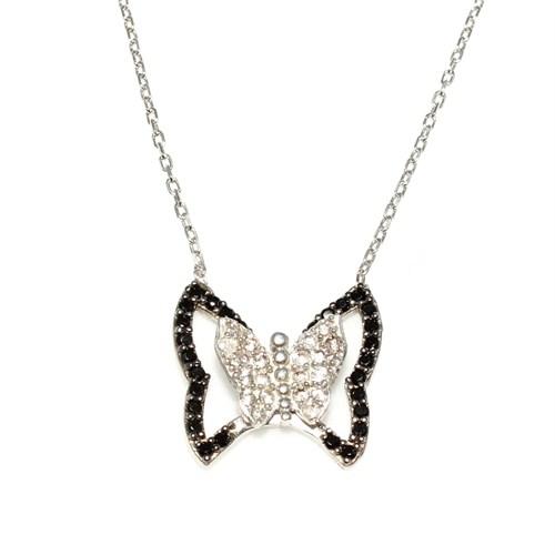 Nusret Takı 925 Ayar Gümüş Kelebek Kolye Beyaz - Beyaz Ve Siyah Taş