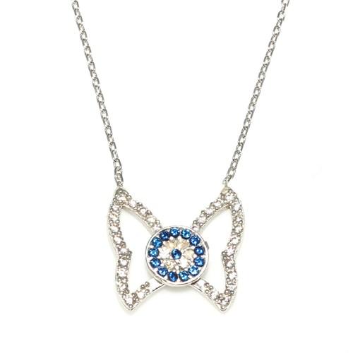 Nusret Takı 925 Ayar Gümüş Nazar Boncuklu Kelebek Kolye Beyaz - Beyaz Mavi Taş