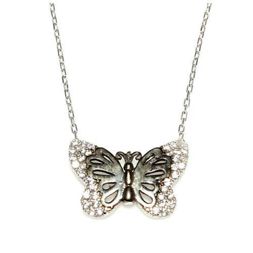 Nusret Takı Kelebek Modeli 925 Ayar Gümüş Kolye Beyaz Siyah - Beyaz Taş