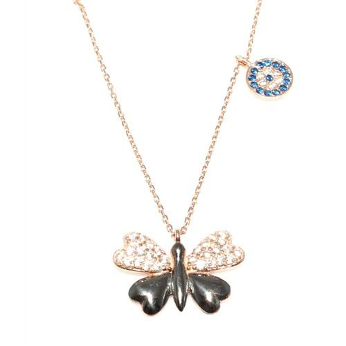 Nusret Takı 925 Ayar Gümüş Kelebek Ve Nazar Boncugu Kolye Pembe Siyah - Beyaz Ve Mavi Taş