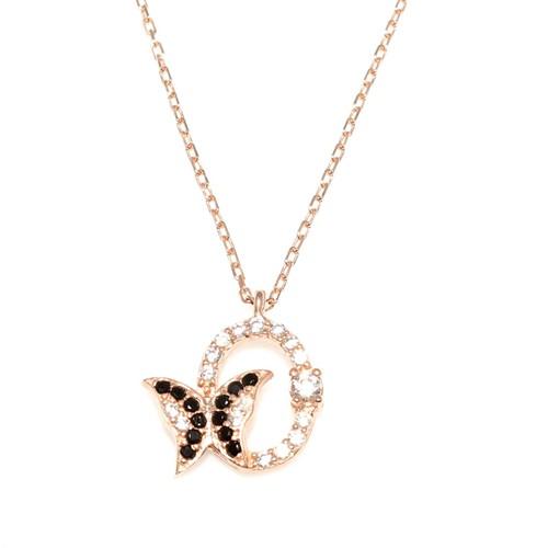 Nusret Takı 925 Ayar Gümüş Kelebek Kolye Pembe - Beyaz Siyah Taş