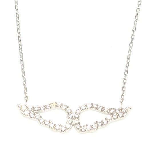 Nusret Takı 925 Ayar Gümüş Melek Kanadı Modeli Kolye Pembe - Beyaz Taş