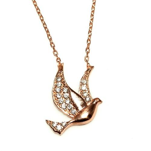 Nusret Takı 925 Ayar Gümüş Güvercin Kuşu Kolye Pembe - Beyaz Taş