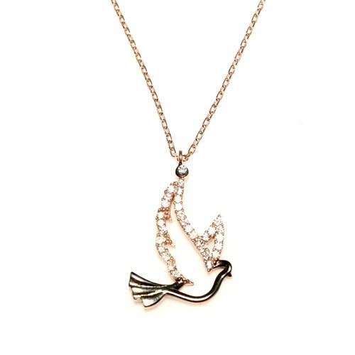 Nusret Takı 925 Ayar Gümüş Güvercin Kuşu Kolye Pembe Siyah - Beyaz Taş