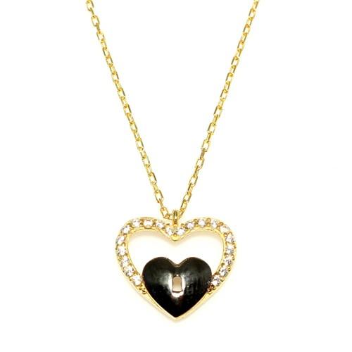 Nusret Takı 925 Ayar Gümüş Kalp Anahtar Kolye Sarı Siyah - Beyaz Taş