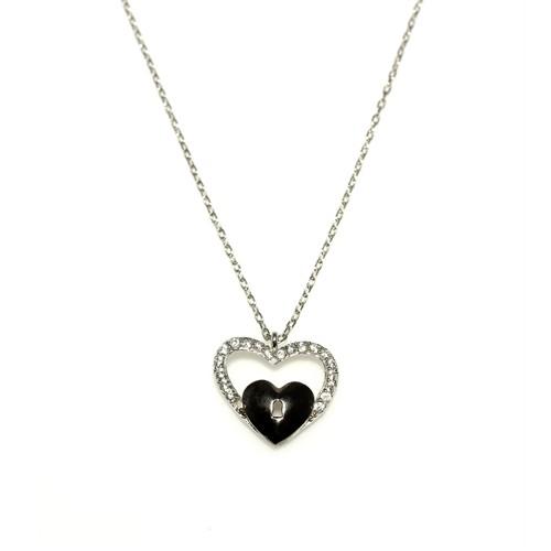 Nusret Takı 925 Ayar Gümüş Kalp Anahtar Kolye Beyaz Siyah - Beyaz Taş