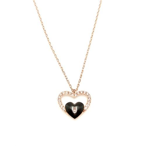 Nusret Takı 925 Ayar Gümüş Kalp Anahtar Kolye Pembe - Beyaz Taş