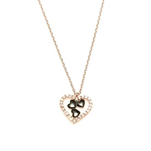 Nusret Takı 925 Ayar Gümüş Kalp Modeli Kolye Pembe Siyah - Beyaz Taş