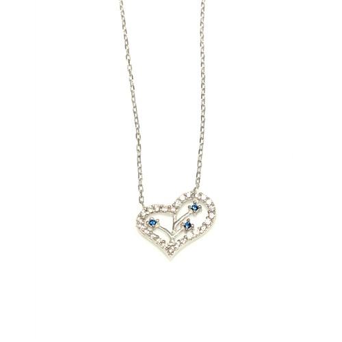 Nusret Takı 925 Ayar Gümüş Dallı Kalp Kolye Beyaz - Beyaz Mavi Taş