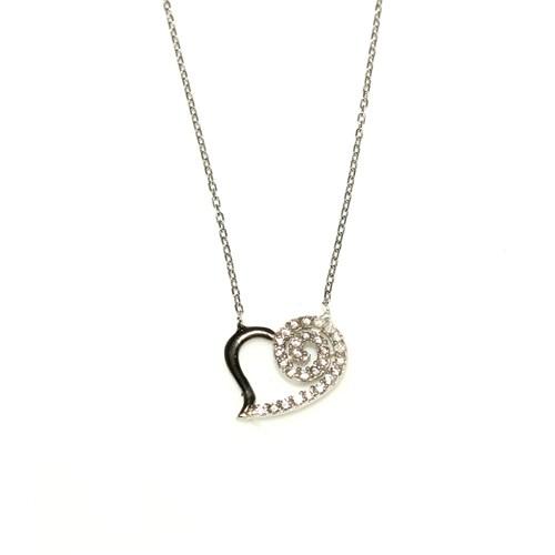 Nusret Takı 925 Ayar Gümüş Spiral Kalp Kolye Beyaz Siyah - Beyaz Taş