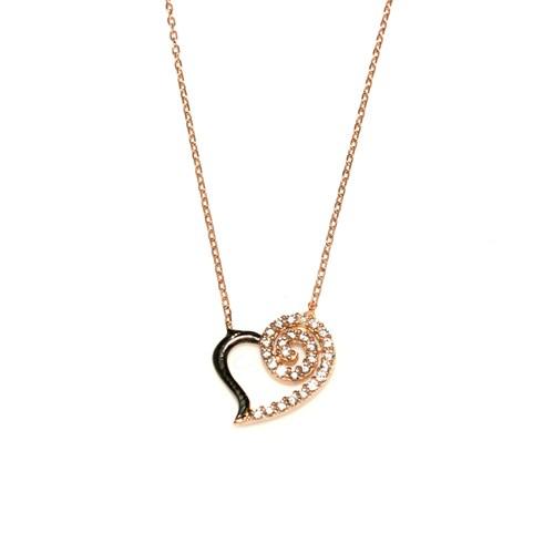 Nusret Takı 925 Ayar Gümüş Spiral Kalp Kolye Pembe Siyah - Beyaz Taş
