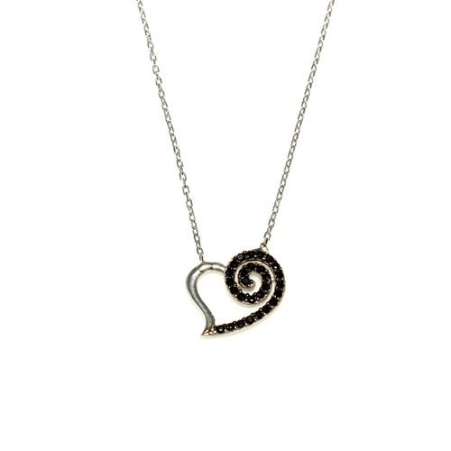 Nusret Takı 925 Ayar Gümüş Spiral Kalp Kolye Beyaz - Siyah Taş