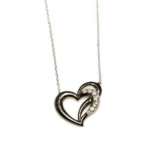 Nusret Takı 925 Ayar Gümüş Kalp Kolye Siyah Beyaz - Beyaz Taş