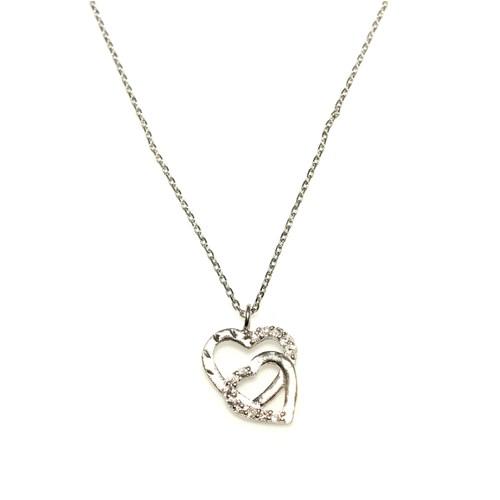 Nusret Takı 925 Ayar Gümüş Kalemli Çift Kalp Kolye Beyaz - Beyaz Taş