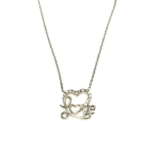 Nusret Takı 925 Ayar Gümüş Love Yazılı Kalp Kolye Beyaz - Beyaz Taş