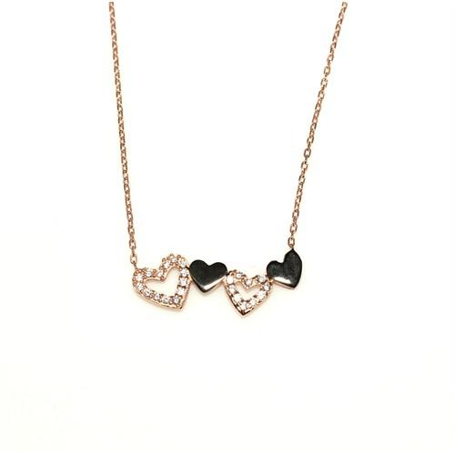 Nusret Takı 925 Ayar Gümüş 5'Li Kalp Kolye Pembe Siyah - Beyaz Taş