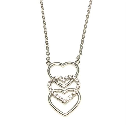Nusret Takı 925 Ayar Gümüş Üçlü Kalp Kolye Beyaz - Beyaz Taş
