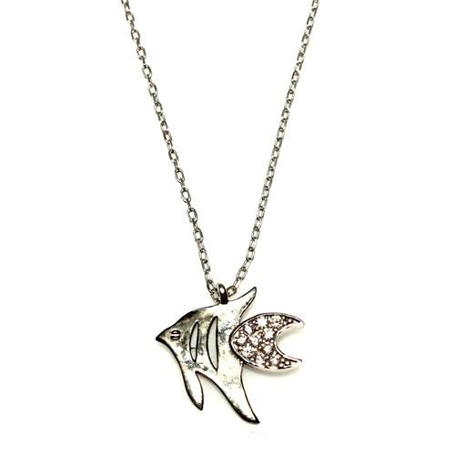 Nusret Takı 925 Ayar Gümüş Balık Kolye Beyaz Siyah - Beyaz Taş