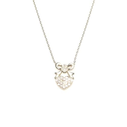 Nusret Takı 925 Ayar Gümüş Fiyonklu Kalp Kolye Beyaz - Beyaz Taş