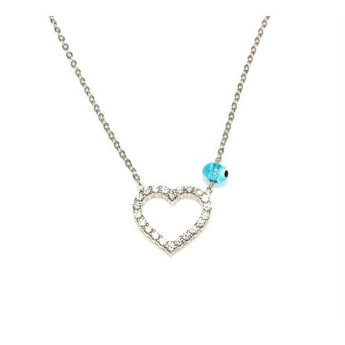 Nusret Takı 925 Ayar Gümüş Nazar Boncuklu Kalp Kolye Beyaz - Beyaz Taş